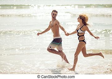 atraente, par, divirta, ligado, praia