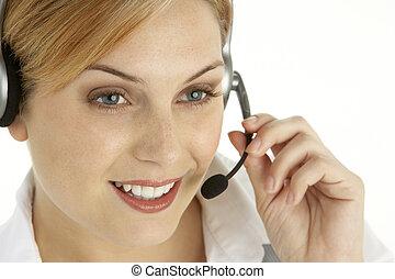 atraente, serviços cliente, representante