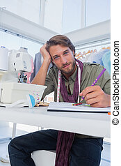 atraente, seu, escrivaninha, moda, trabalhando, desenhista