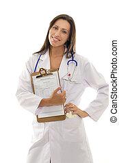 atraente, sorrindo, doutor, com, saúde, registro, documento