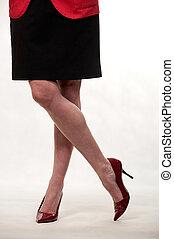 atraente, thirties, caucasiano, mulher, pernas