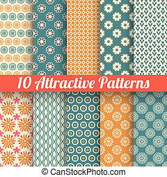 atraente, vetorial, seamless, padrões, (tiling)