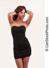atraindo, vestido preto, mulher, posar