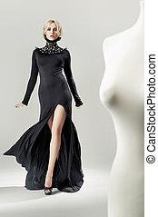 atraindo, vestido, shapely, pretas, loura, senhora