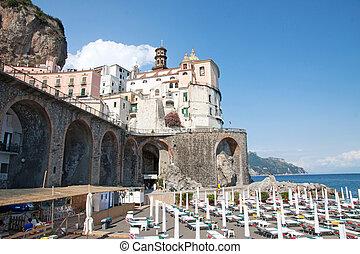 Atrani, Amalfi Coast, Italy - Atrani's beach in the Amalfi...