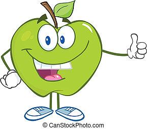 atrasando, polegar, maçã verde