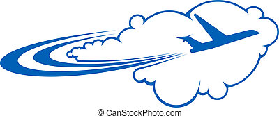 através, avião, voando, nuvens