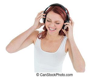 através, mulher, desfrutando, música, casual