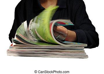 através, revistas, riffling