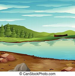 através, rio, fluxo, cena, floresta