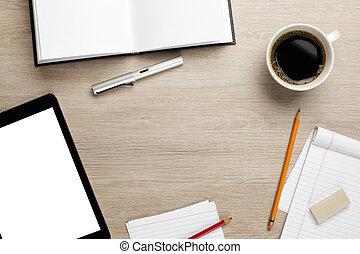 atravancado, escritório, fundo, escrivaninha