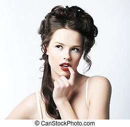 atrayente, y, sofisticación, refinamiento, puro, retrato, woman., seductor, sexy.