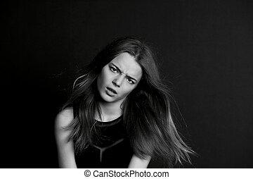 atrevido, joven, largo, bw, hair., niña, mirada