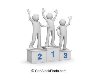 atribución, ceremonia, ganadores, en, pedestal