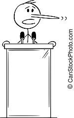 atril, ilustração, vetorial, nariz longo, político, falando, pódio, mentindo, atrás de, caricatura