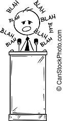 atril, o, político, aburrido, podio, caricatura, blah, atrás, vector, discurso, teniendo, oratoria, hombre
