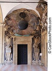 atrio, bologna, archiginnasio, italia, esterno