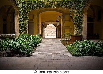 atrio, piante, verde, tranquillo