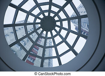 Atrium, looking up - Dome of atrium in new bank office,...