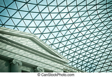 Atrium of the British Museum - Glass roof of atrium of the...