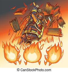 attacchi, w/, pompiere, fiamme, ascia