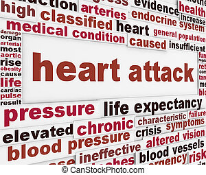 attacco cuore, fondo, messaggio, medico