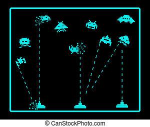 attacco, invaders, spazio