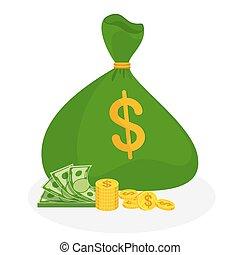 attaché, banque, bag., vert, reussite, haut, métaphore, richesse