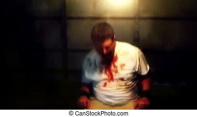 attaché, chaise, torture, victime
