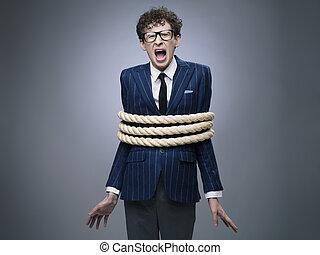 attaché, corde haut, homme affaires