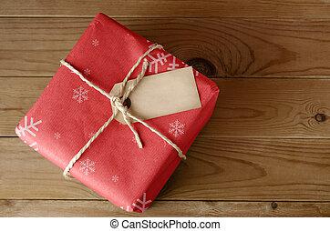 attaché, ficelle, noël, rouges, paquet