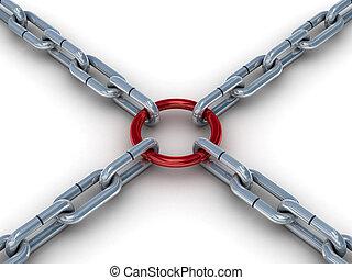 attaché, image., chaîne, ring., rouges, 3d