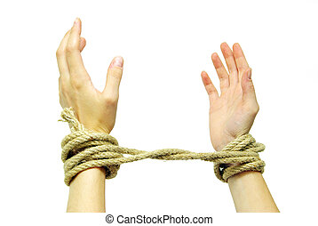 attaché, mains