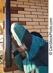 attache, ouvrier, mur, drainage., maison