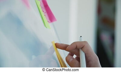attacher, planche, bureau, toile, spécial, autocollant, concepteur