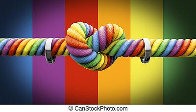 attachez noeud, à, anneaux, gay, mariage
