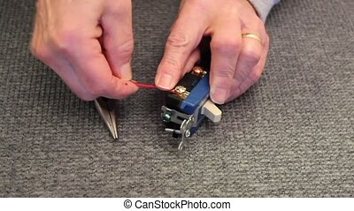 electric switch - attaching a power wire to an electric...