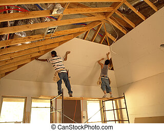 Attaching sheetrock to a tall ceiling