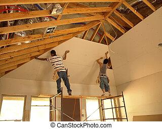 Attaching Sheetrock - Attaching sheetrock to a tall ceiling