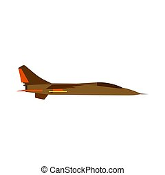 Attack aircraft side view green vector icon. Aviation flight transport with weapon. Speed power vehicle warfare