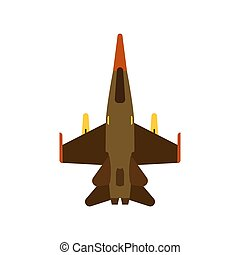 Attack aircraft top view green vector icon. Aviation flight transport with weapon. Speed power vehicle warfare