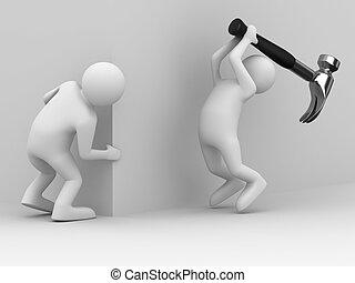 Attack gangster because of corner. 3D image