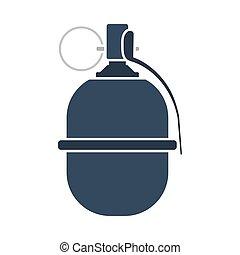 Attack Grenade Icon. Flat Color Design. Vector Illustration.