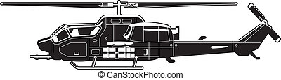 attack helicopter - black and white illustration of the ...