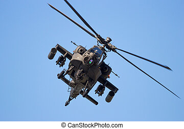 Front view of a flying attack helicopter