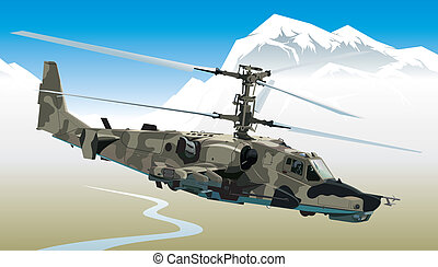 Attack helicopter - Vector illustration attack helicopter in...
