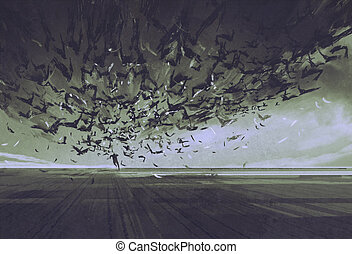 attack of crows,man running away from flock of...