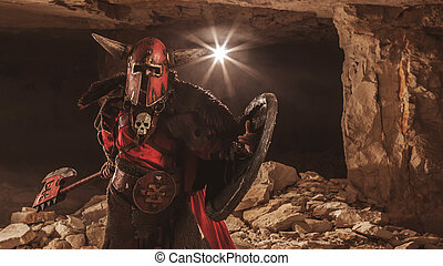 Attack of powerful knight in heavy armor on the dungeon background