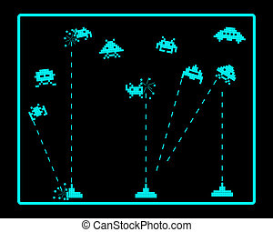 attack of space invaders on a black background