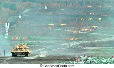 Attack of T90S tank - Tank T-90S. Display of fighting...